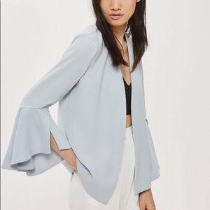 Topshop Waterfall Sleeve Blazer in Light Blue